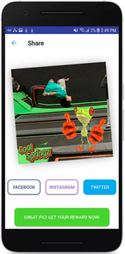 Phone screen showing social media sharing functionality on the Cool Springz reward ap